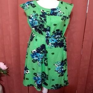 EUC green dress w/blue floral pattern